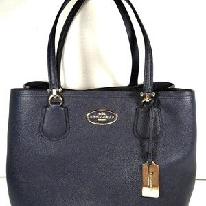 Coach Kitt Carryall Tote Blue Crossgrain Leather